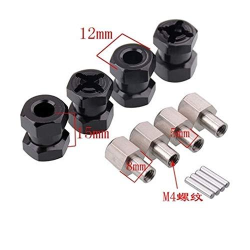 HONG YI-HAT 4pcs Aluminium RC Car 12mm Hex Radnabenantrieb Adapter 15/20 / 25mm Verlängerung Combiner Kupplung for 1/10 CC01 AXIAL AX10 SCX10 Ersatzteile (Color : 15mm)