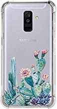 LUOLNH Galaxy A6 Plus 2018 Case,Samsung Galaxy A6 Plus 2018 Case with Flower,Slim Shockproof Clear Floral Pattern Soft Flexible TPU Back Cover for Samsung Galaxy A6 Plus 2018(Cactus Flower)