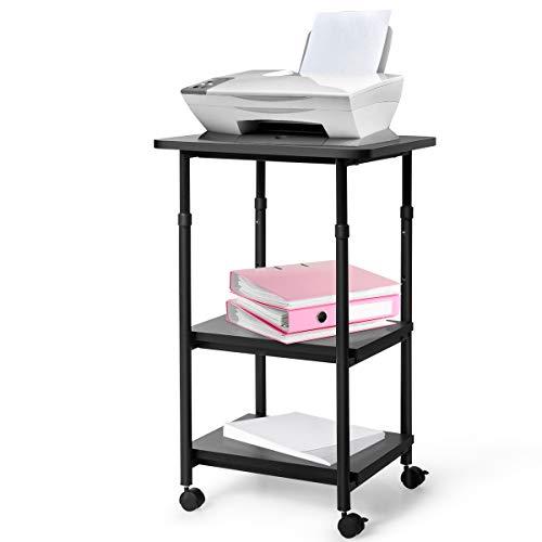 COSTWAY Druckerständer rollbar, Bürocontainer 3 Ebenen, Multifunktionswagen höhenverstellbar, Druckerablage, Druckertisch schwarz (Schwarz)
