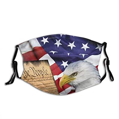 LEEYIEN Reusable Washable Colorful 3Packs Facial Protection with 9pcs Filters American Flag Patriotic USA Bald Eagle and Book