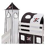 IDIMEX Donjon Max Tour Tente pour lit surélevé avec Toboggan Coton Motif Pirate Noir et Blanc