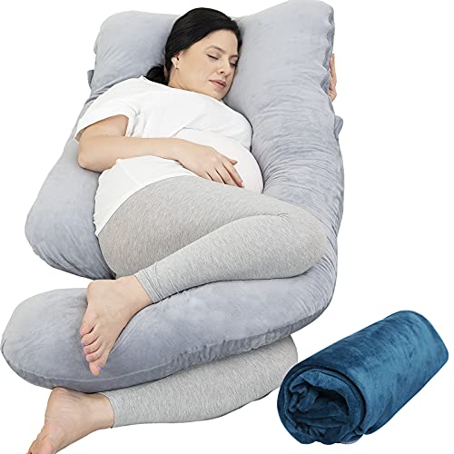 Pregnancy Pillow with 2 Velvet Cover, Rukoy Pregnancy Body Pillow for Side Sleeping, U Shaped...