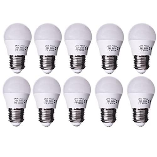 Jandei - Pack de 10 Bombillas LED Globo G45, Casquillo E27, 7W, Blanco Neutro 4200K para lámparas de techo, sistemas de alumbrado, apliques decorativos, lámparas de mesilla