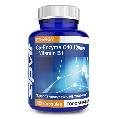 Co-Enzyme Q10 120mg with Added Vitamin B1, 120 Capsules. 4 Months Supply. Supports Normal Heart Function and Energy Production.