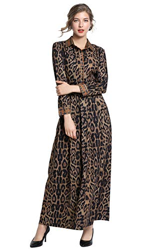 Women's Floral Print Collared Neck 3/4 Sleeves Long Maxi Casual Shirts Dress