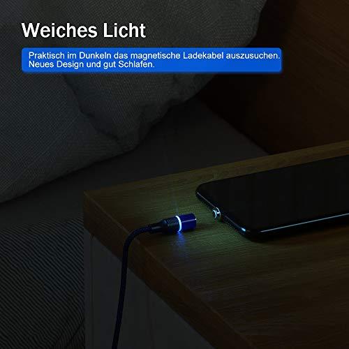 CAFELE 3 in 1 Ladekabel Magnetisch,[2M+2M] 3A Schnellladung Magnet Ladekabel Datenkabel,Nylon Magnetic USB Kabel Kompatibel für Micro USB/Typ C/1Phone/Huawei/Samsung Galaxy/Xiaomi/Honor/Sony/Kindle