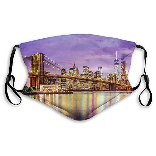 KENDIA Bequeme winddichte Maske, New York, NYC Exquisite Skyline Manhattan Broadway Old Neighborhood Tourist Country Print, Lila Gelb