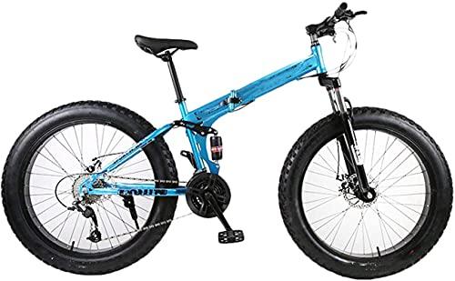 Bicicleta de gorda de montaña plegable de la rueda de 26 pulgadas, 27 velocidades 4.0 neumáticos súper anchos deportes de ciclismo en bicicleta, para entornos urbanos y desplazamientos hacia y desde s