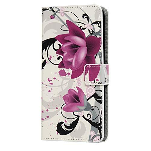 MOTO G50 Funda, 3D pintado a prueba de golpes Premium PU cuero Flip Notebook Funda cartera con soporte magnético para tarjeta de identificación TPU Bumper Cover protectora para MOTO G50 Lotus Flower