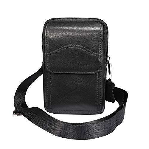 Funda para iPhone Xs Max,11 Pro Max de piel auténtica con trabilla para cinturón, bolsa cruzada de viaje con correa de hombro para hombre Galaxy S20, Note10, S10+, A50, A60, S21