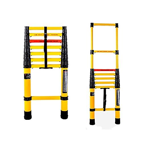 Escalera de extensión de fibra de vidrio, escalera plegable telescópica amarilla para uso en exteriores de casas rodantes en el techo de la casa, antideslizante portátil liviana (tamaño: 2 m / 6,6 pie