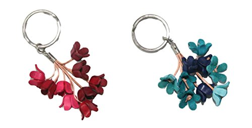Clearance sale! Pack of 2 Bella Pazzo Handmade Blue bell Flowers Leather Keychain Backpack Key Ring Clasp Bag Charm Handbag Purse charm