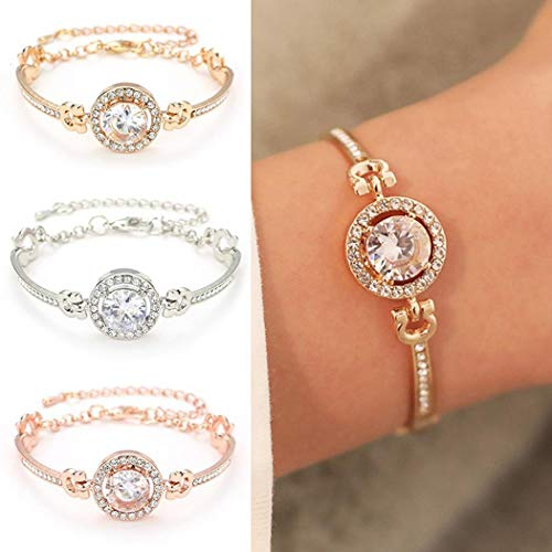 Women's Retro Rhinestone Flower Hollow Out Bracelet $3.39 (80% Off with code)