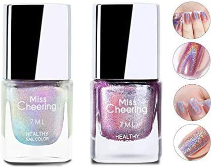 Freeorr Laser Nail Polish, Pretty Shiny Mirror Glitter Holographic Long Lasting Nail Polish 7ml -LS01+LS06