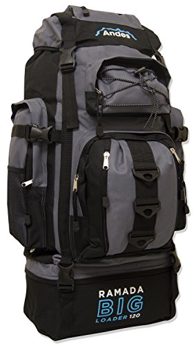 Andes Black/Grey Ramada 120L Extra Large Hiking Camping Backpack/Rucksack Luggage Bag