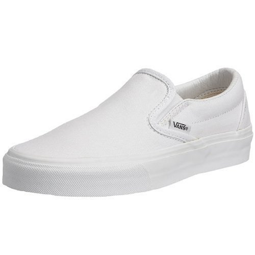 VANS Classic Slip Ons Skate Shoes Sneakers Canvas Surf True White 8 Men 9.5 Women