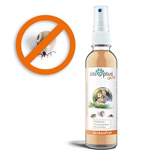 Ida Plus – Zeckenfrei 200 ml – Zeckenspray gegen Zecken, Mücken, Flöhen, Grasmilben & Parasiten – Zeckenmittel für Hunde – Anti Zecken Insektenspray mit Geraniol & Nelkenblätteröl zum Insektenschutz