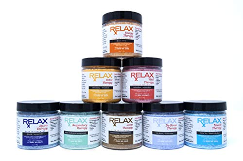 Relax Spa Aromatherapy Bath Salts, Pack of 8, 4 Ounce Bottles, Crystals Infused with Essential Oils to Soak Aches, Pains, and Relieve Stress, Safe for Bath and Hot Tub Aromatherapy