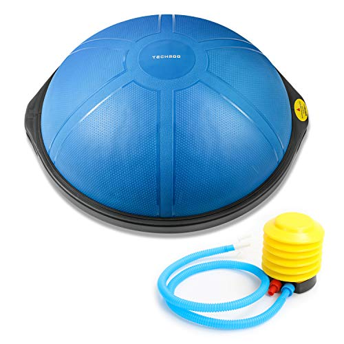 TECHMOO 25 Inch Half Balance Ball Trainer Yoga Exercise Ball Resistance Bands Pump Home Training Equipment Trainer Balance Boards Superior Balance Balls Textured Surface for Strength Exercise