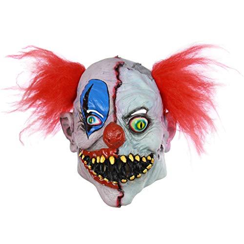 N/A. Mscara de ltex para Halloween espeluznante y malvado de payaso zombi de cara completa, disfraz de fiesta de disfraces, accesorios para fotografa