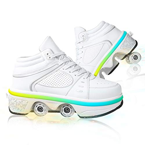 HealHeatersⓇ Schuhe mit Rollen Erwachsene Deformation Schuhe Rollschuhe verstellbar mehrzweckschuhe Kinder Kinderschuhe Sneaker Roller Skate Shoes with Wheels popoutskates roll rollschuh