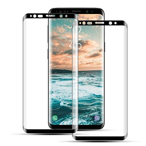 Mriaiz Panzerglas Schutzfolie für Samsung Galaxy S8, (2 Stück) Ultra-Klar 3D Volle Abdeckung 9H Härte Panzerglasfolie mit Bläschenfrei, HD Displayschutzfolie für Samsung Galaxy S8