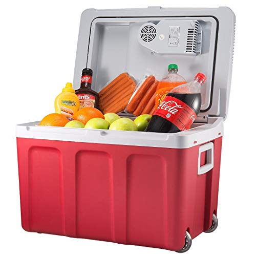 Knox Gear 48 Quart Electric Cooler/Warmer with Dual AC and DC Power Cords (Red)
