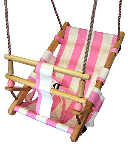 Gartenpirat Baby-Schaukelsitz aus Holz und Stoff (rosa) Kleinkind Schaukel außen