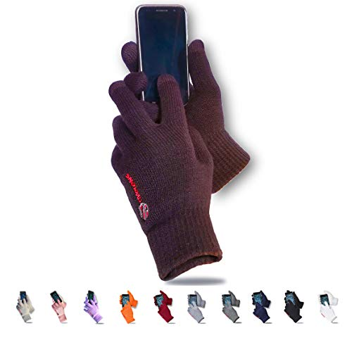AXELENS Guanti Touch Screen Tattili Invernali Morbidezza e Comfort Unisex Interno Felpato per Smartphone Cellulari e Tablet Confezione Regalo Inclusa Marrone