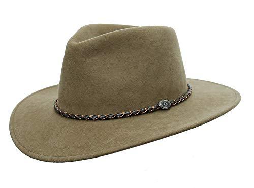 Kakadu Traders Australia Cappello da esterno in feltro di lana con cinturino in pelle intrecciato, da piegare talpa M