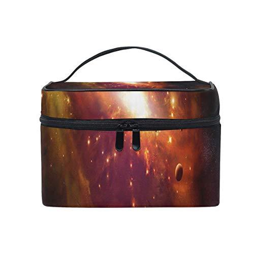 Trousse de maquillage Orange Galaxy Cosmetic Bag Portable Grand Trousse de toilette pour femmes/filles Voyage