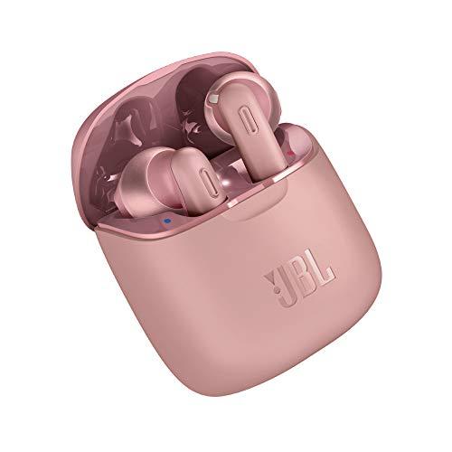 JBL Tune 220 Auriculares inalámbricos con Bluetooth y JBL Pure Bass Sound, 20 h de música continua y estuche de carga inteligente, rosa