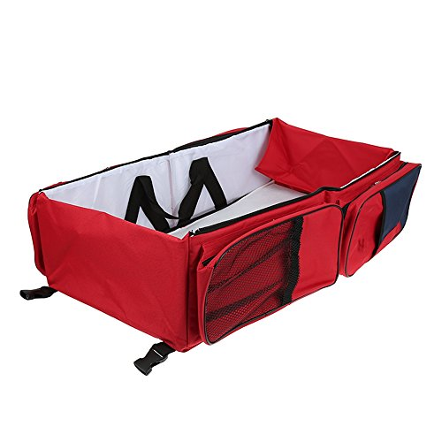 3 in 1-Wickeltasche, Mehrzweck-Tasche, reisebett für Baby,als Tragebettchen und Wickeltisch, tragbar, veränderbar (Rot)