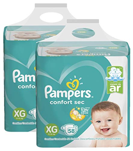Kit Fralda Pampers Confort Sec Nova Super Tamanho Xg 116 Unidades
