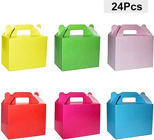 Traktatieboxen (24-pack) - H11xW14xD6cm Feestdoos met Zes Heldere Regenboogkleuren - DIY Doosjes - Feestzakjes voor Kinderen - Persoonlijke Geschenkdoos voor Verjaardag, Baby Shower Partijen, Geel,