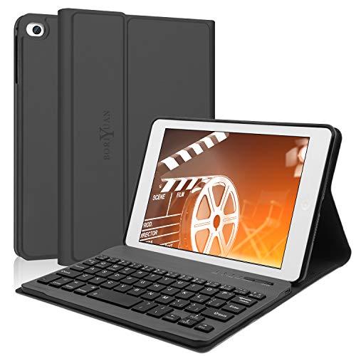 iPad Mini 5 Keyboard Case 2019,Boriyuan Folio PU Stander Smart Cover,With Detachable Wireless Bluetooth Keyboard,For iPad Mini 1/2/3/4/5,7.9 Inch Keyboard Case(Black)