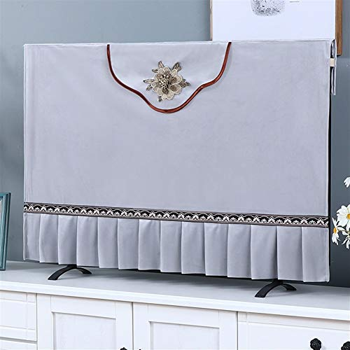 47-B Cubierta de TV cubierta de tela para televisión, cubierta antipolvo para televisión, tela de cachemira, color gris, tamaño: 55 pulgadas