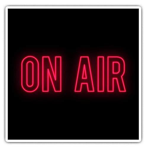 Impresionantes pegatinas cuadradas (juego de 2) 10 cm – On Air Neon Sign Radio TV Studio Divertidos calcomanías para ordenadores portátiles, tabletas, equipaje, reserva de chatarras, frigoríficos, regalo genial #45929