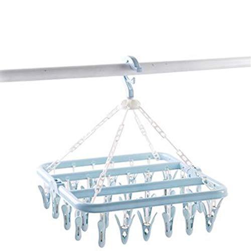 Clip y Goteo Percha - Calcetines Percha Ropa Interior Percha con 32 Pinzas para la Ropa Rompe-Vientos Gancho - Colgante Tendedero para Secado Toallas, Sujetadores, Ropa de Bebé - Azul