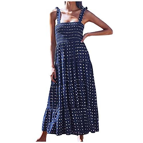 Liably Vestido elegante para mujer, estilo bohemio, falda larga, para verano, informal, para la playa, de talle alto, holgado, estilo retro marine M