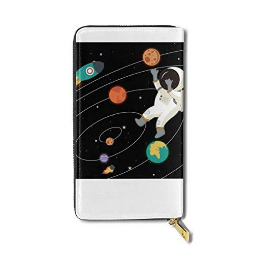 Lawenp Galaxy Universe Spaceman de Gran Capacidad Zip Around Slim Billfold Cartera de Cuero Real titulares de Tarjetas para Hombres Mujeres niño niña