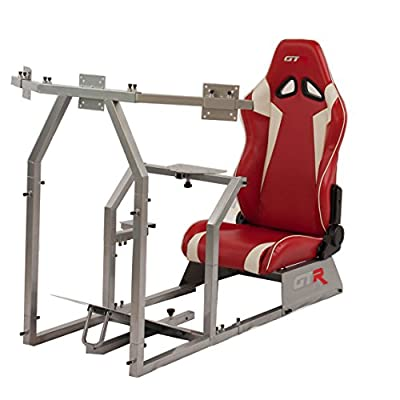 GTR Simulator GTAF-S-S105LRDWHT - GTA-F Model (Silver) Triple or Single Monitor Stand with Red/White Adjustable Leatherette Seat, Racing Simulator Cockpit Gaming Chair Single Monitor Stand
