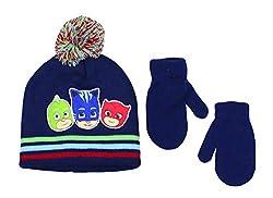 PJ/_Mask Licensed Toddler Cold Weather Beanie Set Hat /& Mittens Blue