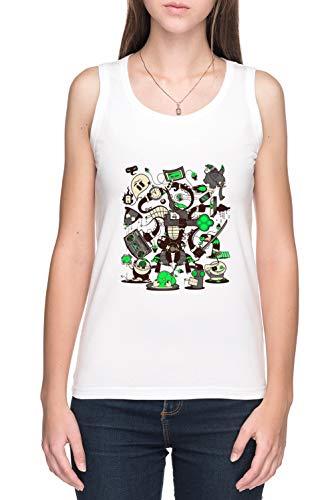 Alcaparras, Esquemas, Planes, Y Estafas De Tirantes Camiseta Mujer Blanco