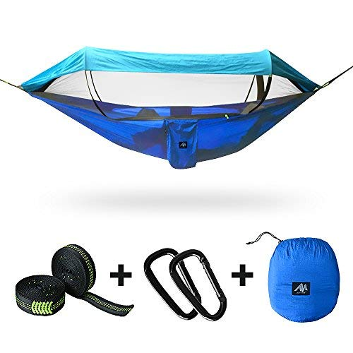 [2 in 1] Camping Hammock with Mosquito Net & Sunshade Cloth & Tree Straps for 2/Double Person, AYAMAYA Portable Parachute Nylon Lightweight Big Pop Up Swing Hammock with Bug/Insect Netting (Blue)
