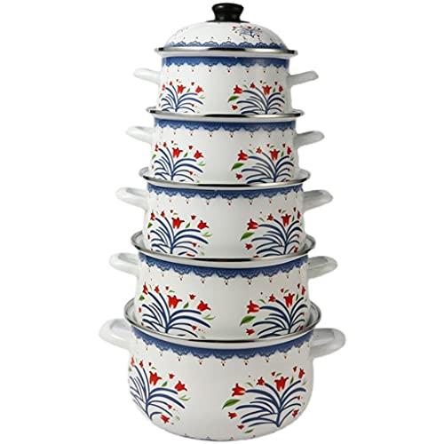 SHYOD Household 5pots Set 2-7 litri induzione nera da 2-7 litri induzione di cottura casseruola pentola smaltato pentola regalo zuppa piatto cucina ceramica stufato pentola