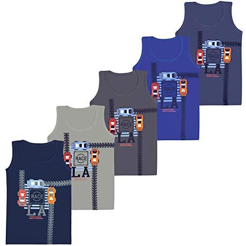 PiriModa 5 Pack Jungen Unterhemden Baumwolle Tank Top (92-98 (2-3Jahre), Modell 8)