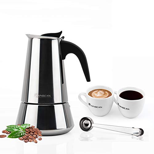 6-Cup Stovetop Espresso Maker Italian Moka Coffee Pot - Polished Stainless Steel Coffee Percolator with Permanent Filter and Heat Resistant Handle by RAINBEAN