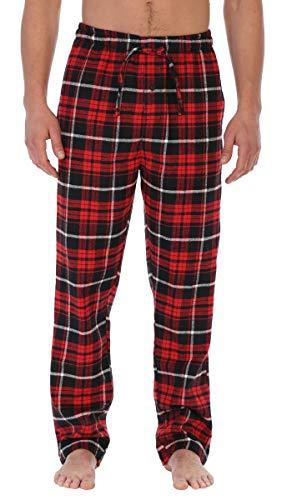 Gioberti Mens Yarn Dye Brushed Flannel Pajama Pants, Elastic Waist, Red/Black/White Highlight, Large