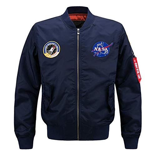 AYYSHOP NASA Bomberjacke für Männer Pullover, Air Sky Flight Jacket Hip Hop Leichte Windjacke Outwear,Darkblue,L